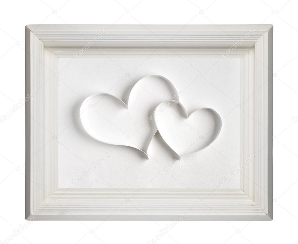 dos corazones de papel en viejas de madera cuadro marco aislado ...