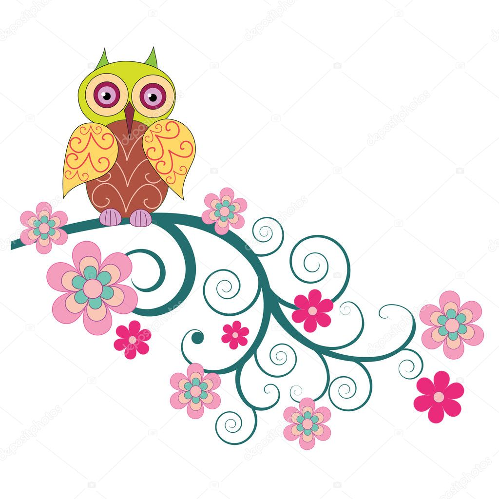 A cute owl sitting on the branch of flowers