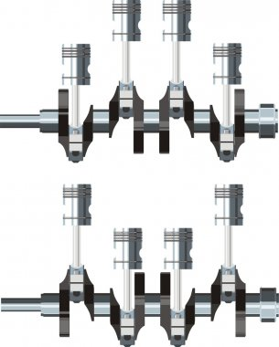 Pistons with crankshaft