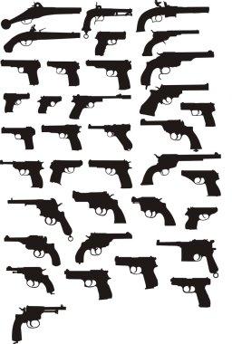 Pistol silhouettes set