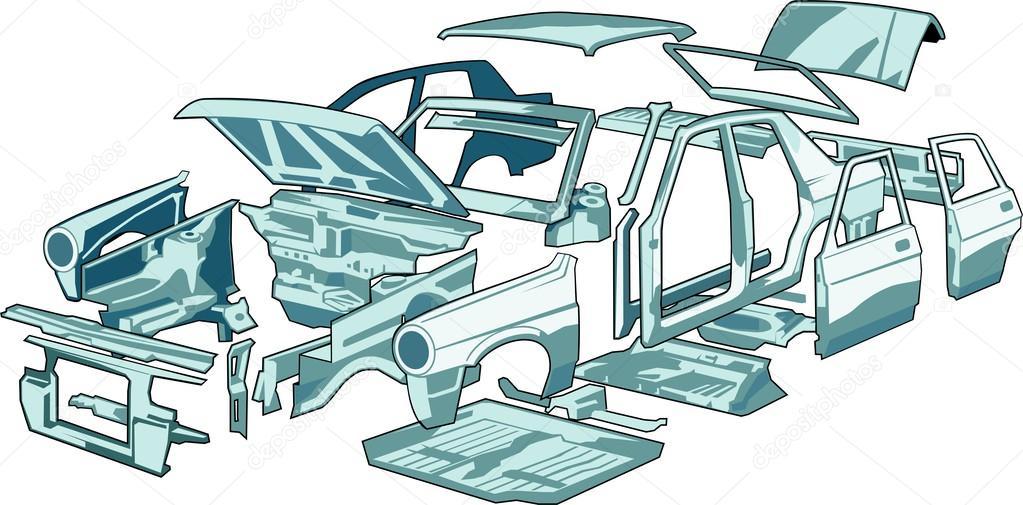partes del cuerpo de coches — Vector de stock © kokandr #38244297
