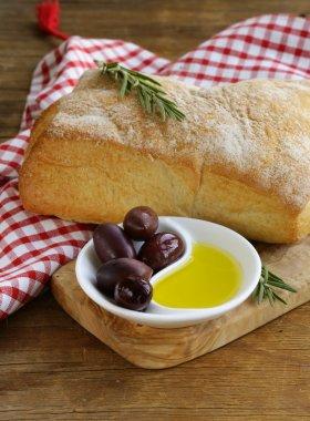 Ciabatta bread, olive and oil