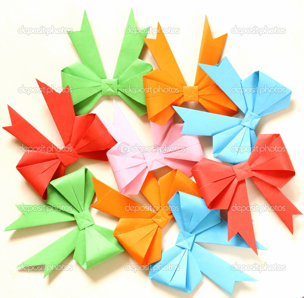 Colored Paper Origami Bows For Holiday Cards Stock Photo Dream79