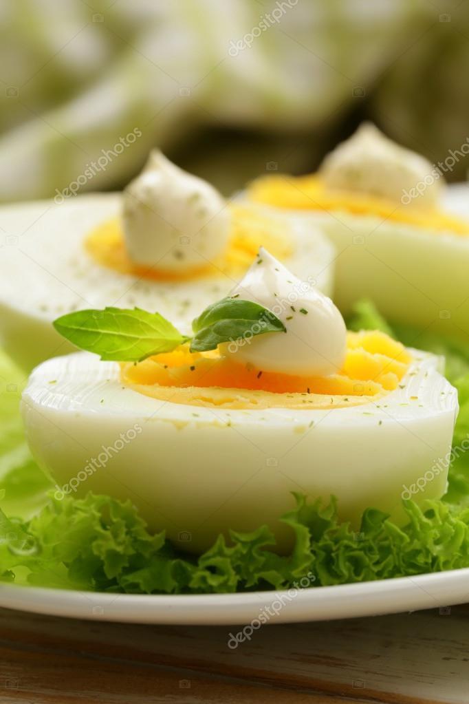 vorgeschmack dessen gekochte eier mit mayonnaise und gew rze stockfoto dream79 44296747. Black Bedroom Furniture Sets. Home Design Ideas
