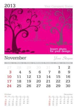 November 2013 A3 calendar