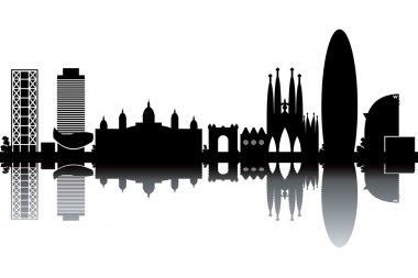 Barcelona skyline - black and white