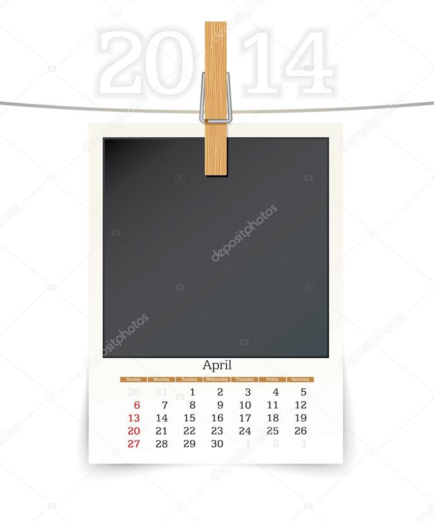 April 2014 Rahmen Fotokalender — Stockvektor © lajo_2 #36714983