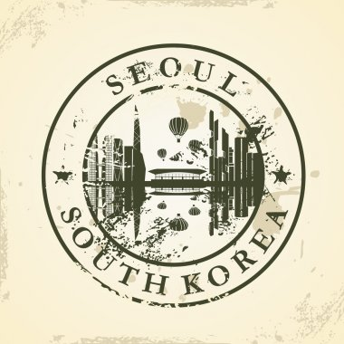 Grunge rubber stamp with Seoul, South Korea