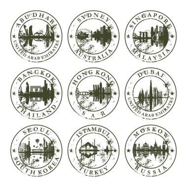Grunge rubber stamps with Abu Dhabi, Sydney, Singapore, Bangkok,