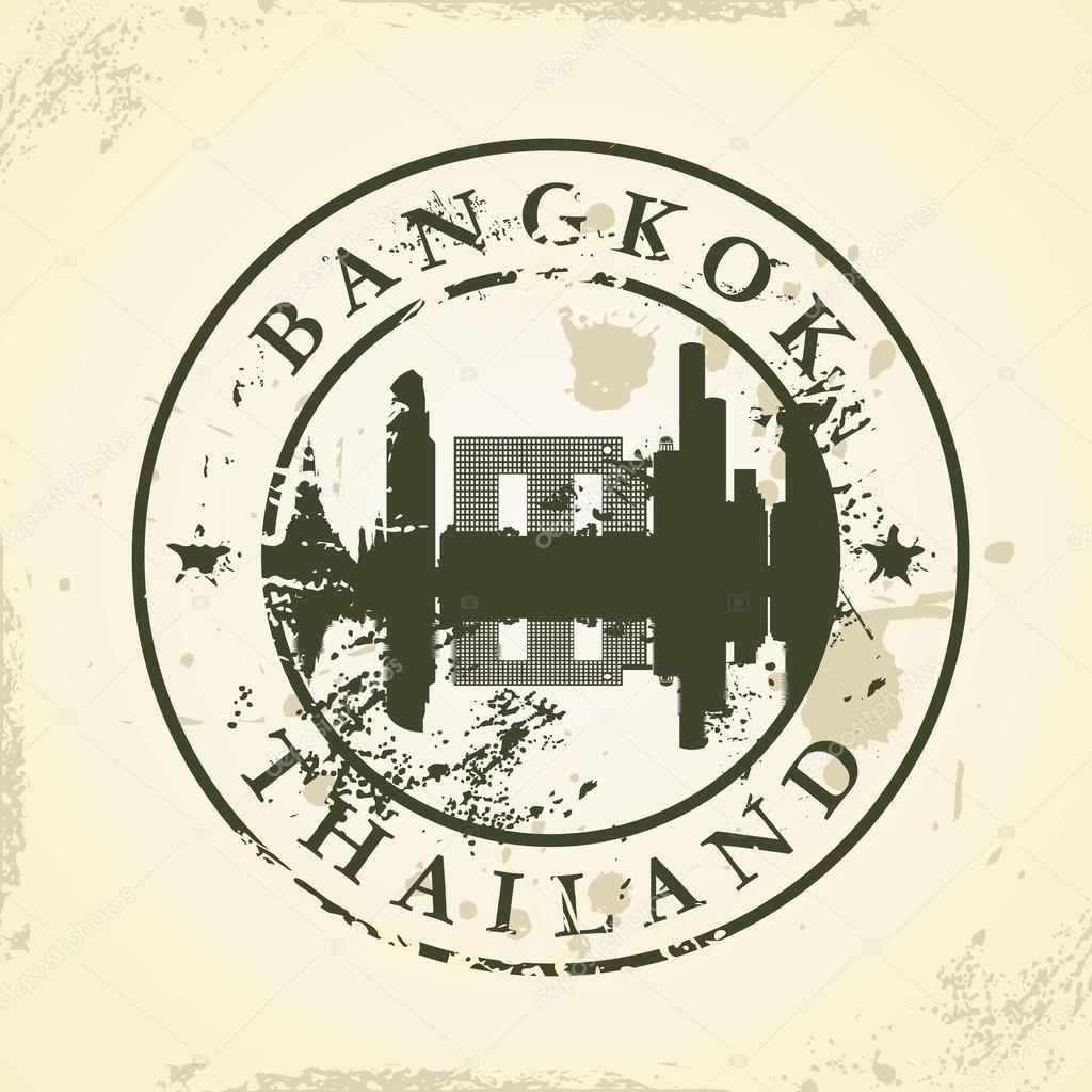 Grunge rubber stamp with Bangkok, Thailand