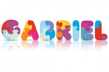 Vector GABRIEL written with alphabet puzzle