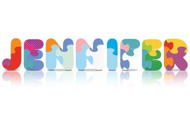 Vector JENNIFER written with alphabet puzzle