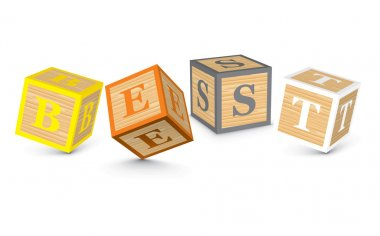 Word BEST written with alphabet blocks