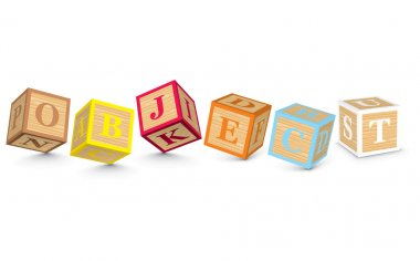 Word OBJECT written with alphabet blocks