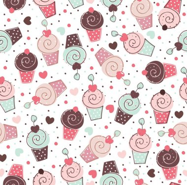 Cupcakes sweets seamless doodle vector pattern