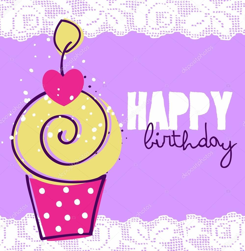cute happy birthday card with cupcake stock vector zboooh 21941643