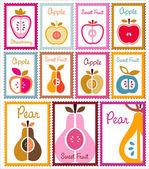 kolekce ovocných poštovních známek