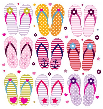 Vector flip flops collection