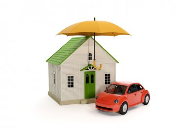 3d illustration: Umbrella house and car. Insurance, protection o