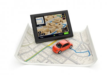 3d illustration: GPS navigation map and a car.