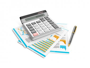 3d illustration: calculator, pen and papers. Accounting analysis