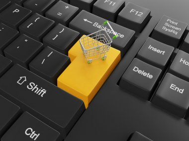 Purchase of goods through online store. Keyboard with a cart on