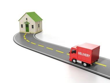 3d illustration: Transportation, cargo. Free home delivery