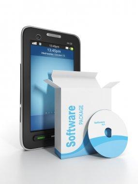 3d illustration: Mobile technology. Mobile phone software and li