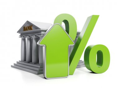 3d Illustration: Business and Finance. Raising interest rates in