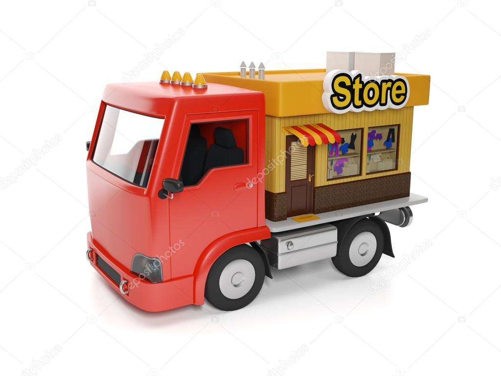 3d Illustration Lebensmittel Lieferung Zu Ihnen Nach Hause Lkw