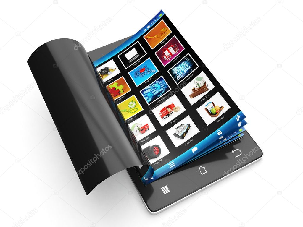 Viewing images on a mobile phone. Mobile phone images Leafs