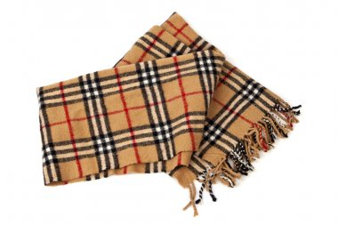 Brown plaid scarf on white background