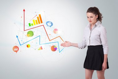 Young business woman presenting colorful charts and diagrams on bright background stock vector