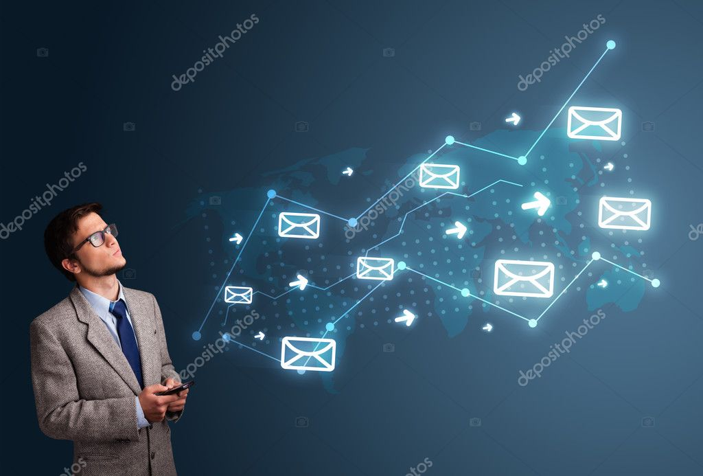 Young man holding a phone with arrows and message icons