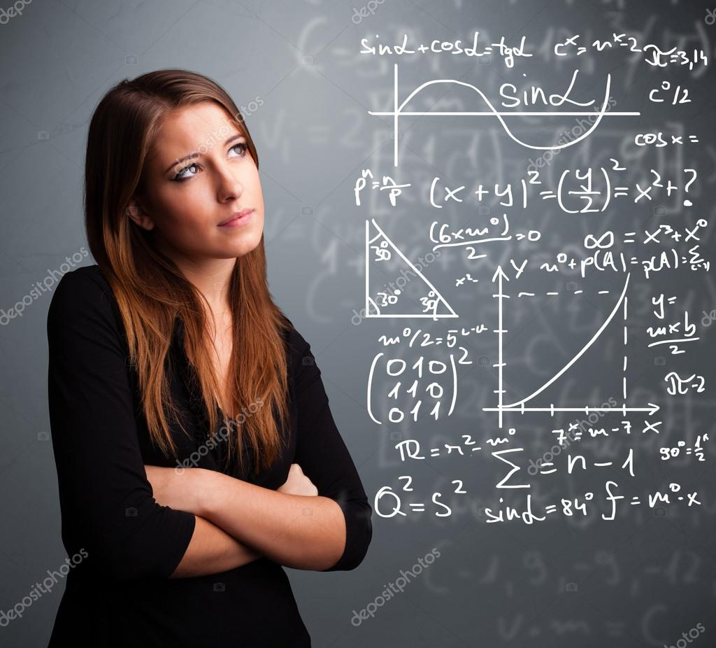 hermosa niña pensando en signos matemáticos complejos