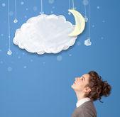 Fiatal lány keres a rajzfilm éjszaka felhők a Hold
