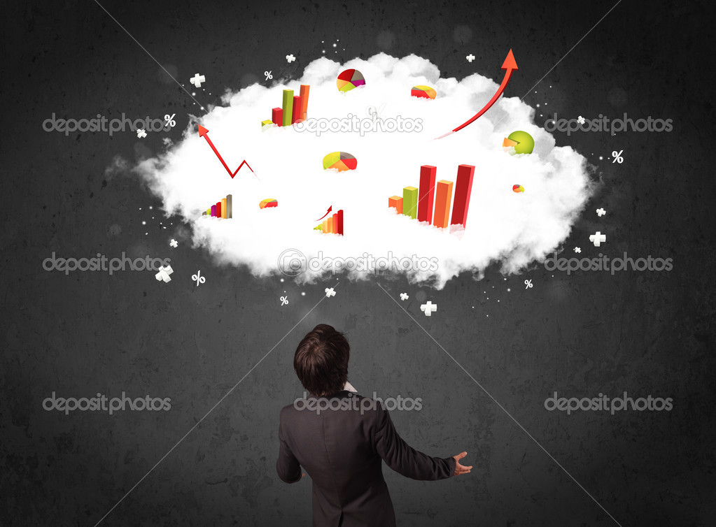 Young businessman standing with colorful charts in a cloud above his head stock vector