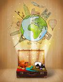 zavazadla s cestováním po celém světě ilustrace koncept