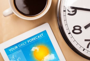 Tablet pc showing weather forecast on screen with a cup of coffe