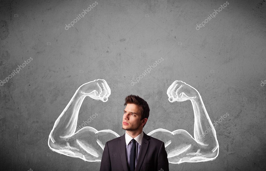 Businessman with strong muscled arms
