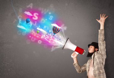 Man shouting into megaphone and abstract text and balloons come