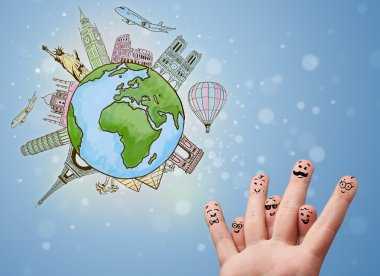 Cheerful happy smiling fingers with famous landmarks of the globe stock vector