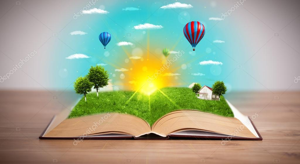 Фотообои Open book with green nature world coming out of its pages