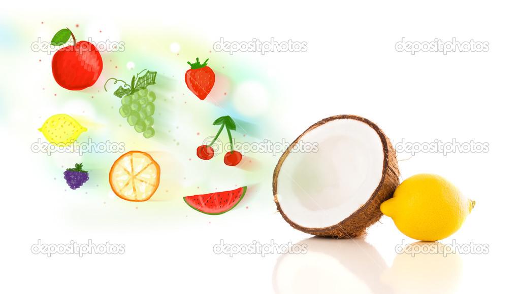 bunte Früchte mit handgezeichneten illustriert Früchte — Stockfoto ...