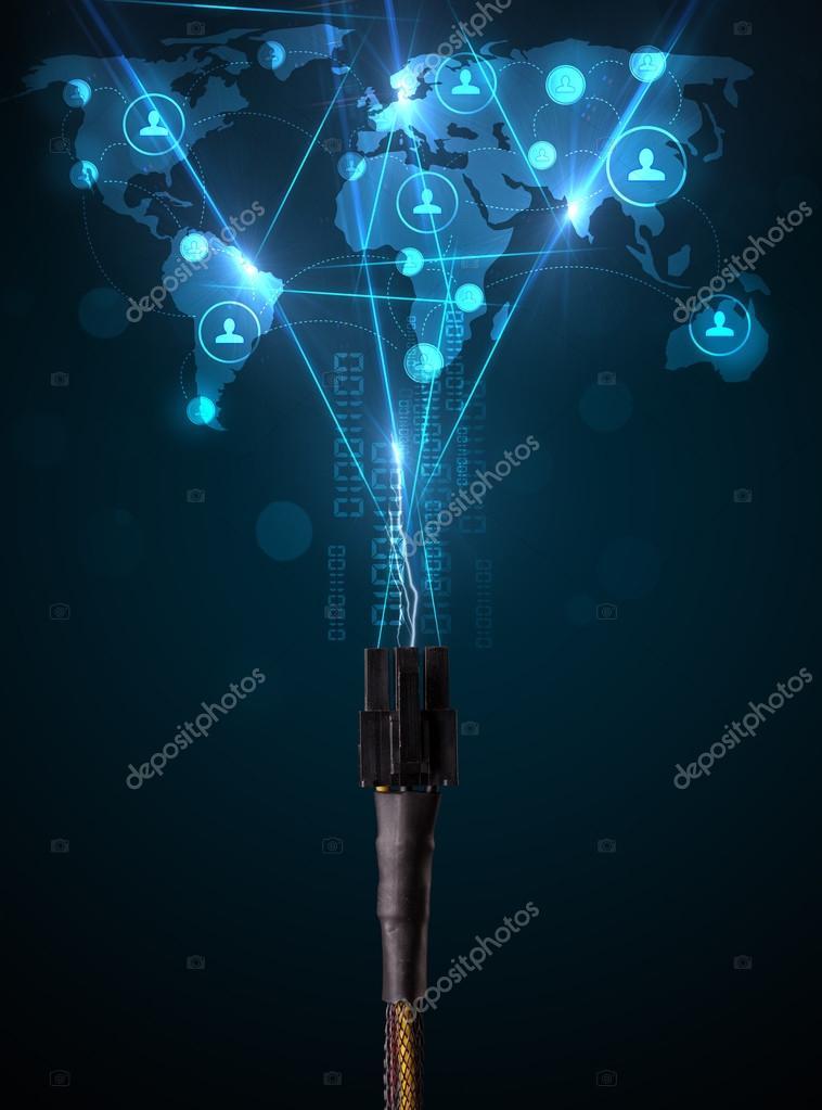 Soziales Netzwerk-Symbole aus elektrische Kabel — Stockfoto ...