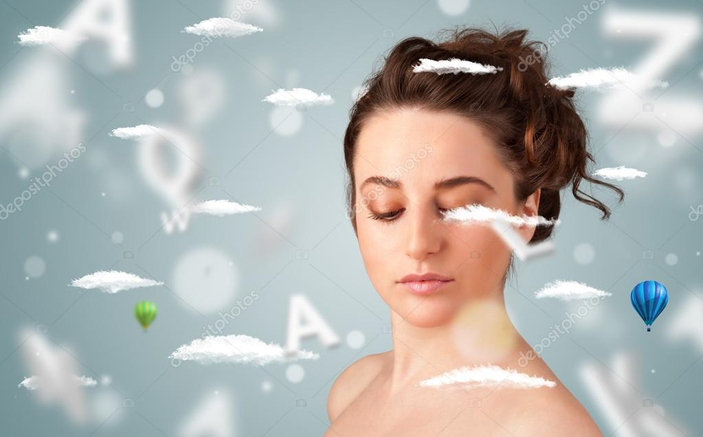 Beautiful young woman with wellness and healthcare clouds on gradient background stock vector