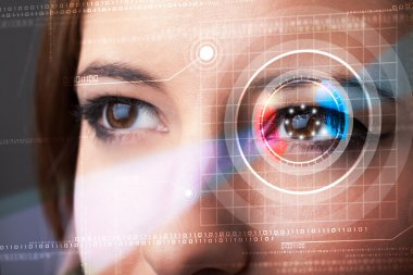 Modern cyber woman with technolgy eye looking stock vector