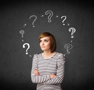 Thoughtful young woman with drawn question marks circulating around her head stock vector