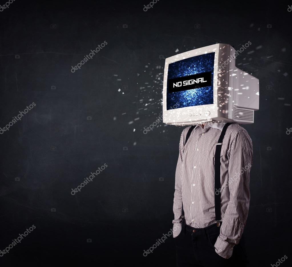 Man with a monitor head, no signal sign on the display — Stock Photo