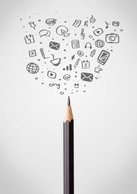 Pencil close-up with social media icons